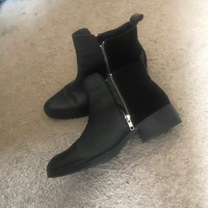 black leather booties (water proof)